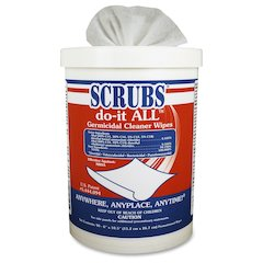 """SCRUBS do-it ALL Germicidal Cleaning Wipes - Wipe - 6"""" Width x 10.50"""" Length - 90 / Canister - 6 / Carton - Red, White, Blue"""