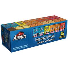Austin&reg Cookies & Crackers Variety Pack - Choco Creme, Vanilla Creme, Lemon Ohs!, Cheese, Peanut Butter - Pouch - 4.27 lb - 45 / Carton