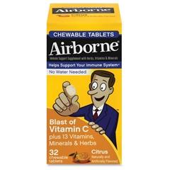 Airborne Vit-C Chewable Tablets - Citrus - 72 / Carton - 32