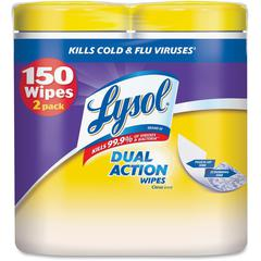 Lysol Dual Action Cleaning Wipes - Wipe - Citrus Scent - 75 / Canister - 6 / Carton - White
