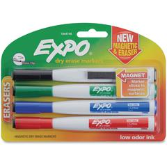 Expo Eraser Cap Fine Magnetic Dry Erase Markers - Medium, Fine, Broad Point Type - Assorted - 4 / Pack