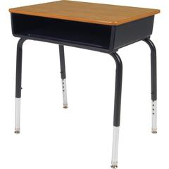 "Lorell Book Box Student Desk - Rectangle Top - 18"" Table Top Width x 24"" Table Top Depth - 30"" Height - Assembly Required - Black - Plastic"