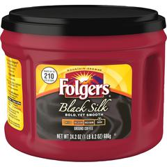 Folgers Black Silk Dark Ground Coffee Ground - Regular - Black Silk - Dark - 24.2 oz Per Canister - 1 Each