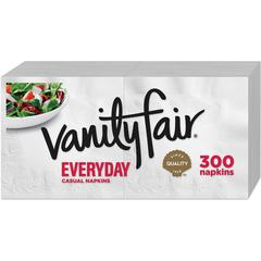 "Vanity Fair VanityFair Everyday Napkins - 2 Ply - 13"" x 12.75"" - White - Paper - Soft, Strong, Absorbent, Textured - For Breakfast, Dinner - 300 Sheets Per Pack - 2400 / Carton"