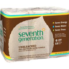 "Seventh Generation Natural Unbleached Paper Towels - 2 Ply - 11"" x 9"" - 120 Sheets/Roll - Natural - Pulp - Absorbent, Unbleached, Chlorine-free, Fragrance-free, Dye-free, Ink-free, Strong - For Kitche"