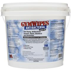 "2XL GymWipes Dispensing Antibacterial Towelettes - 6"" x 8"" - White - Alcohol-free, Bleach-free, Disinfectant, Absorbent, Disposable, Anti-bacterial, Phenol-free - For Toilet - 700 Sheets Per Bucket -"