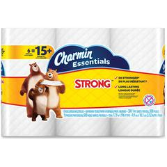 Charmin Essentials Strong Bath Tissue - 1 Ply - 300 Sheets/Roll - White - Paper - Wet Strength, Clog-free, Septic-free, Soft - 6 - 1800 / Pack