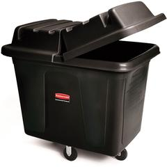 "300-lb Cap. Cube Truck - 44.91 gal Capacity - Cube - Durable - 28.1"" Height x 26"" Width - Metal, High-density Polyethylene (HDPE) - Black"