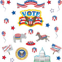 "Teacher Created Resources Election Bulletin Brd Display - Election Theme/Subject - 18, 76 (Pieces, Star) Shape - Durable, Acid-free, UV Coated - 22"" Height x 15"" Width - Red, White, Blue - 1 Set"