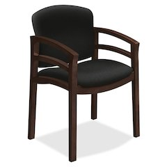 "HON 2112 Mahogany Base Double Rail Guest Chair - Polymer Seat - Hardwood Frame - Four-legged Base - Black - 20"" Seat Width x 17"" Seat Depth - 23.5"" Width x 22"" Depth x 33.1"" Height"