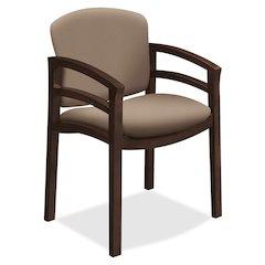 "HON 2112 Mahogany Base Double Rail Guest Chair - Polymer Seat - Hardwood Frame - Four-legged Base - Morel - 20"" Seat Width x 17"" Seat Depth - 23.5"" Width x 22"" Depth x 33.1"" Height"