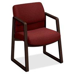 "HON 2400 Srs Mocha Hardwood Sled Base Guest Chair - Wood Burgundy, Plywood, Urethane Foam Seat - Urethane Foam Burgundy Back - Wood, Hardwood Frame - Sled Base - Natural - 20"" Seat Width x 17.75"" Seat"