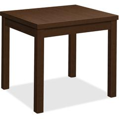 """HON End Table - 24"""" x 20"""" x 20"""", Edge, 20"""" x 20"""" Work Surface, Top - Square Edge - Material: Wood Grain Work Surface, Particleboard Top - Finish: Thermofused Laminate (TFL), Mocha"""