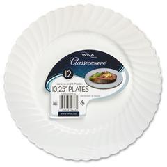 "Table Ware - 10.25"" Diameter Plate - Plastic - Disposable - White - 144 Piece(s) / Carton"