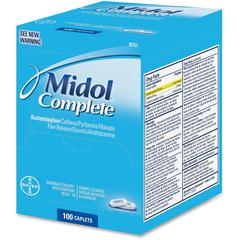 Acme United Midol Complete Pain Reliever Caplets - For Menstrual Cramp, Backache, Muscular Pain, Headache, Bloating - 100 / Box