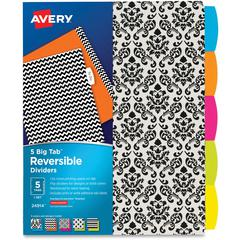 "Avery Big Tab Reversible Fashion Dividers - 10"" (0.8 ft) Width x 10"" (0.8 ft) Length - 5 / Set"
