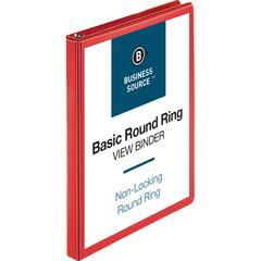 "Business Source Round Ring Binder - 1/2"" Binder Capacity - Round Ring Fastener - 2 Internal Pocket(s) - Red - 1 Each"