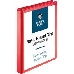 "Business Source Round Ring Binder - 1"" Binder Capacity - Round Ring Fastener - 2 Internal Pocket(s) - Red - 1 Each"