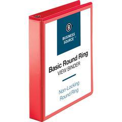 "Business Source Round Ring Binder - 1 1/2"" Binder Capacity - Round Ring Fastener - 2 Internal Pocket(s) - Red - 1 Each"