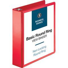 "Business Source Round Ring Binder - 2"" Binder Capacity - Round Ring Fastener - 2 Internal Pocket(s) - Red - 1 Each"