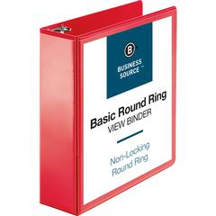 "Business Source Round Ring Binder - 3"" Binder Capacity - Round Ring Fastener(s) - 2 Internal Pocket(s) - Red - 1 Each"