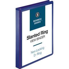 "Business Source D-Ring View Binder - 1"" Binder Capacity - Slant D-Ring Fastener - Internal Pocket(s) - Navy - 1 Each"