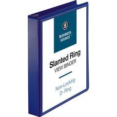 "Business Source D-Ring View Binder - 1 1/2"" Binder Capacity - Slant D-Ring Fastener - Internal Pocket(s) - Navy - 1 Each"