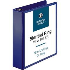 "Business Source D-Ring View Binder - 2"" Binder Capacity - Slant D-Ring Fastener - Internal Pocket(s) - Navy - 1 Each"