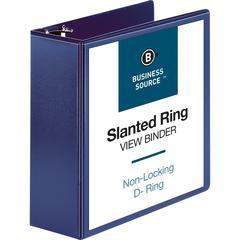 "Business Source D-Ring View Binder - 4"" Binder Capacity - Slant D-Ring Fastener - Internal Pocket(s) - Navy - 1 Each"