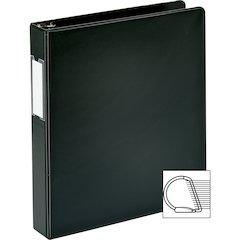 "Business Source 1.5"" D-Ring Binder - 1 1/2"" Binder Capacity - 375 Sheet Capacity - Slant D-Ring Fastener - Internal Pocket(s) - Black - 1 Each"