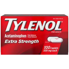Tylenol Extra Strength Caplets - For Fever, Headache, Muscular Pain, Arthritis, Toothache, Backache - 100 / Box