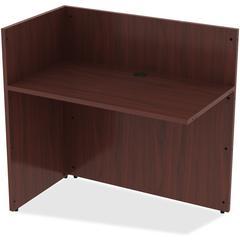 "Reception Desk - Edge, 42"" x 24"" x 41.5"" - Material: Polyvinyl Chloride (PVC) Edge - Finish: Mahogany Laminate"