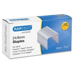 "Rapesco 24/8mm Galvanized Staples - 24/8mm, 5/16"" - Chisel Point - Galvanized Steel - 5000 / Box"