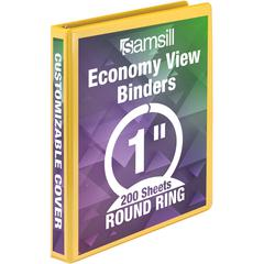 """Samsill Economy Round-Ring View Binder - 1"""" Binder Capacity - Round Ring Fastener - Inside Front & Back Pocket(s) - Board, Vinyl - Yellow - 1 Each"""