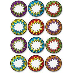 Ashley Dry Erase Superhero Die-cut Magnets - Superhero Theme/Subject - 12 (Superhero Pops) Shape - Magnetic - Vibrant Pattern - Die-cut, Write on/Wipe off, Heavy Duty, Damage Resistant, Long Lasting -