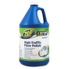 Zep Commercial Commercial High-Traffic Floor Polish - Liquid - 1 gal (128 fl oz) - 4 / Carton - Clear, Green