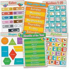 Carson-Dellosa Chevron Basic Skills Bulletin Board Set - Theme/Subject: Learning - Skill Learning: Art & Design - 6 Pieces - 5-8 Year