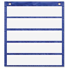 "Carson-Dellosa Daily Standards Pocket Chart - 5 Pocket(s) - 14"" Height x 13"" Width - Hanging - Blue - Polyester - 6 / Pack"