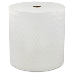 "Genuine Joe Solutions HardWound Roll Towels - 1 Ply - 7"" x 850 ft - White - Virgin Fiber - Soft, Embossed, Absorbent - 6 / Carton"