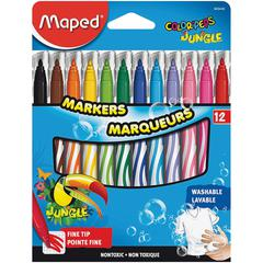 Helix Fine Tip Washable Markers - Fine Point Type - Assorted - 12 / Set