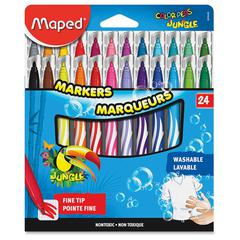 Helix Fine Tip Washable Markers - Fine Marker Point Type - Assorted - 24 / Set