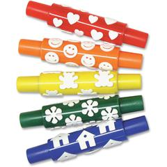 Creativity Street Set A Foam Pattern Rolling Pins - 5 / Set - Plastic