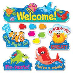 Trend Sea Buddies Coll. Welcome Bulletin Board Set - 42 (Fish) Shape - 47 Piece