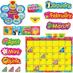 Trend WipeOff Stars/Swirls Calendar Bulletin Brd Set - Learning Theme/Subject - Reusable - 55 Piece