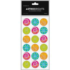 "Astrobrights Foil Enhanced Stickers - Multi-color - Fun Theme/Subject (Round) Shape - Self-adhesive - Sweet Job, Nice Work, You Rock, Like - 1.25"" Diameter - Multicolor - Foil - 60 / Pack"