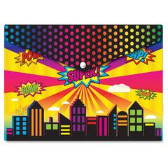 Superhero Design Snap Poly Folder - Poly - Multi-colored - 6 / Pack