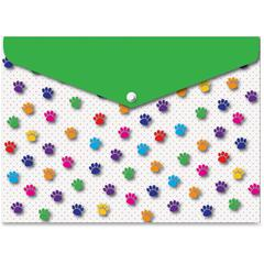 Pawprints Design Snap Poly Folders - Poly - Multi-colored - 6 / Pack
