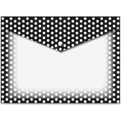 B/W Dots Design Snap Poly Folders - Poly - Multi-colored - 6 / Pack