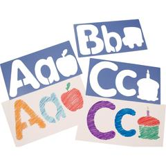"""Roylco Big Alphabet and Picture Stencils - 6"""" - Uppercase Letter, Lowercase Letter, Picture - 6.5"""" x 13"""" - Blueberry"""