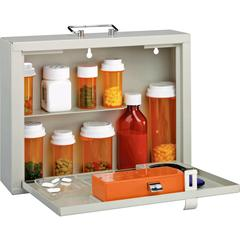"""MMF Premium Steel Medication Case - Combination, Key Card and Security Code, Key Lock - Overall Size 9.5"""" x 12.3"""" x 3.8"""" - Platinum - Steel"""